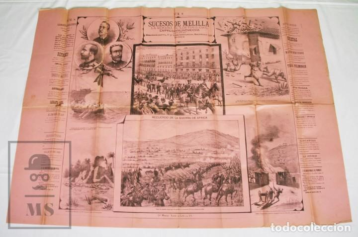 Militaria: 9 Carteles / Noticiario Ilustrado de 1ª Guerra del Rif, 1893-94 / Sucesos de Melilla - Los Tiroleses - Foto 17 - 192888580