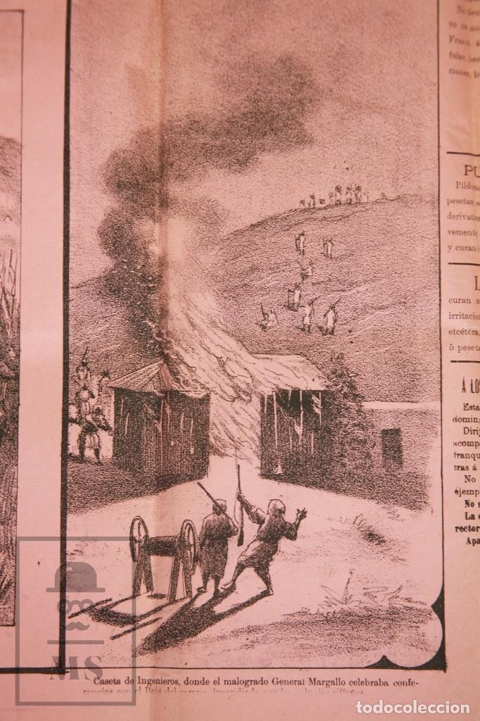 Militaria: 9 Carteles / Noticiario Ilustrado de 1ª Guerra del Rif, 1893-94 / Sucesos de Melilla - Los Tiroleses - Foto 19 - 192888580