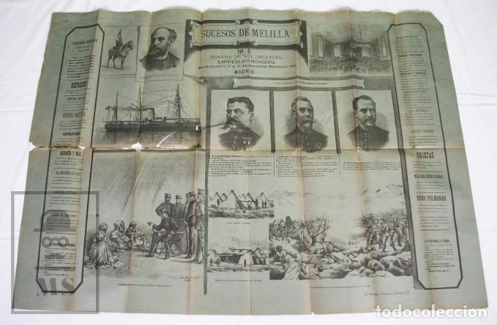 Militaria: 9 Carteles / Noticiario Ilustrado de 1ª Guerra del Rif, 1893-94 / Sucesos de Melilla - Los Tiroleses - Foto 22 - 192888580