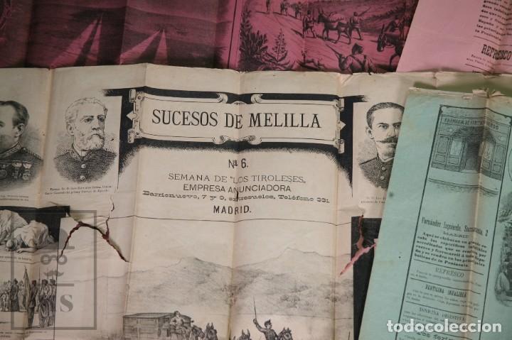 Militaria: 9 Carteles / Noticiario Ilustrado de 1ª Guerra del Rif, 1893-94 / Sucesos de Melilla - Los Tiroleses - Foto 28 - 192888580