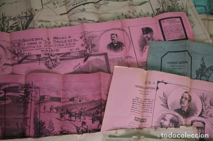 Militaria: 9 Carteles / Noticiario Ilustrado de 1ª Guerra del Rif, 1893-94 / Sucesos de Melilla - Los Tiroleses - Foto 29 - 192888580