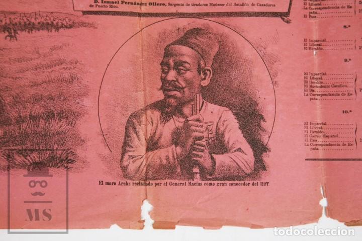 Militaria: 9 Carteles / Noticiario Ilustrado de 1ª Guerra del Rif, 1893-94 / Sucesos de Melilla - Los Tiroleses - Foto 30 - 192888580
