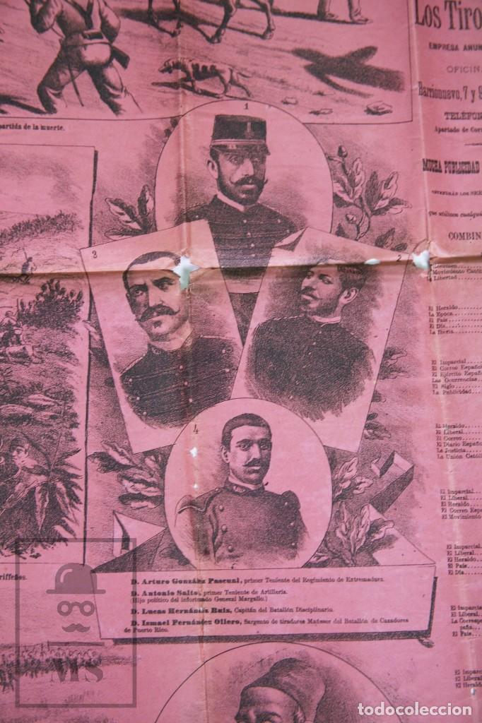 Militaria: 9 Carteles / Noticiario Ilustrado de 1ª Guerra del Rif, 1893-94 / Sucesos de Melilla - Los Tiroleses - Foto 31 - 192888580