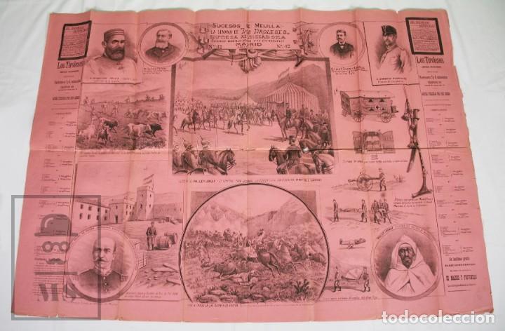 Militaria: 9 Carteles / Noticiario Ilustrado de 1ª Guerra del Rif, 1893-94 / Sucesos de Melilla - Los Tiroleses - Foto 34 - 192888580