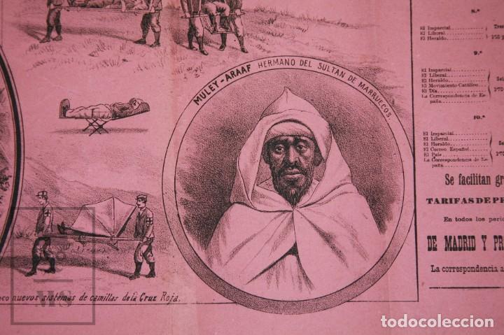 Militaria: 9 Carteles / Noticiario Ilustrado de 1ª Guerra del Rif, 1893-94 / Sucesos de Melilla - Los Tiroleses - Foto 36 - 192888580