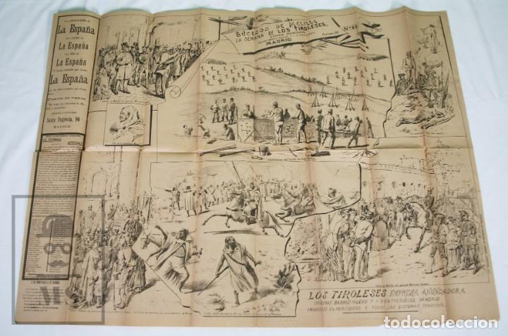 Militaria: 9 Carteles / Noticiario Ilustrado de 1ª Guerra del Rif, 1893-94 / Sucesos de Melilla - Los Tiroleses - Foto 41 - 192888580