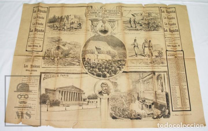 Militaria: 9 Carteles / Noticiario Ilustrado de 1ª Guerra del Rif, 1893-94 / Sucesos de Melilla - Los Tiroleses - Foto 45 - 192888580