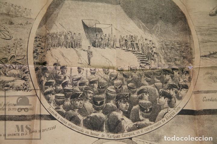 Militaria: 9 Carteles / Noticiario Ilustrado de 1ª Guerra del Rif, 1893-94 / Sucesos de Melilla - Los Tiroleses - Foto 47 - 192888580