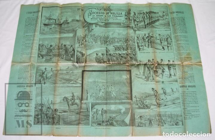 Militaria: 9 Carteles / Noticiario Ilustrado de 1ª Guerra del Rif, 1893-94 / Sucesos de Melilla - Los Tiroleses - Foto 49 - 192888580