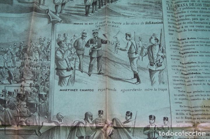 Militaria: 9 Carteles / Noticiario Ilustrado de 1ª Guerra del Rif, 1893-94 / Sucesos de Melilla - Los Tiroleses - Foto 52 - 192888580