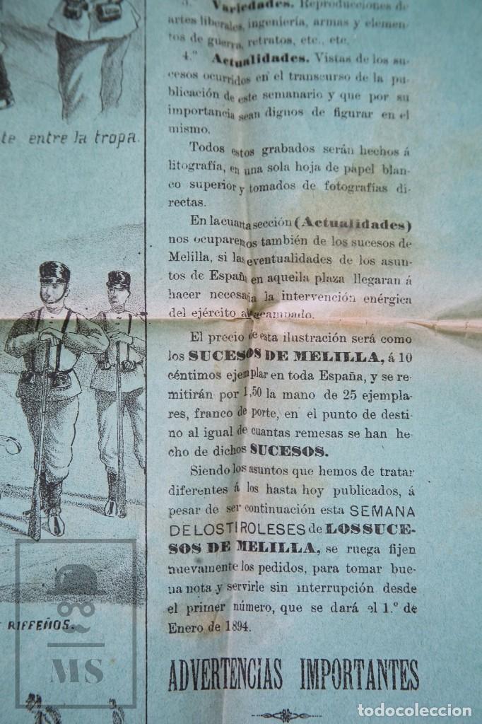Militaria: 9 Carteles / Noticiario Ilustrado de 1ª Guerra del Rif, 1893-94 / Sucesos de Melilla - Los Tiroleses - Foto 53 - 192888580
