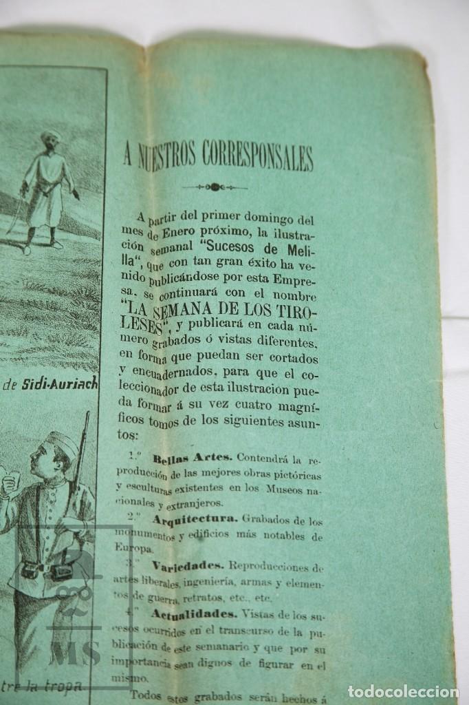 Militaria: 9 Carteles / Noticiario Ilustrado de 1ª Guerra del Rif, 1893-94 / Sucesos de Melilla - Los Tiroleses - Foto 54 - 192888580