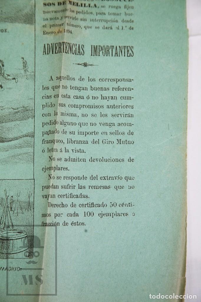 Militaria: 9 Carteles / Noticiario Ilustrado de 1ª Guerra del Rif, 1893-94 / Sucesos de Melilla - Los Tiroleses - Foto 55 - 192888580