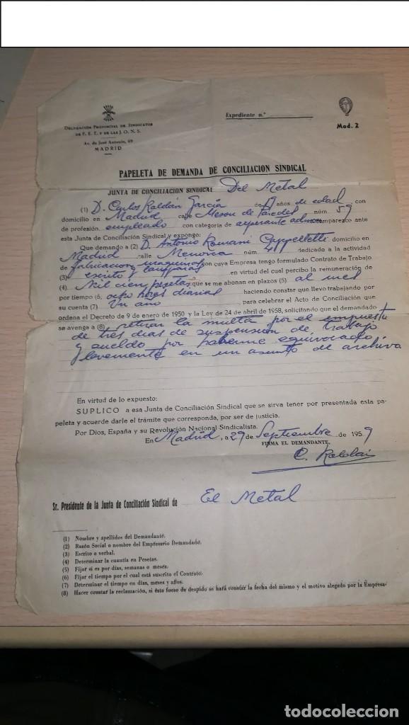 PAPELETA DE DEMANDA DE CONCILIACION SINDICAL-FALANGE, MADRID,AÑO 1959 (Militar - Propaganda y Documentos)