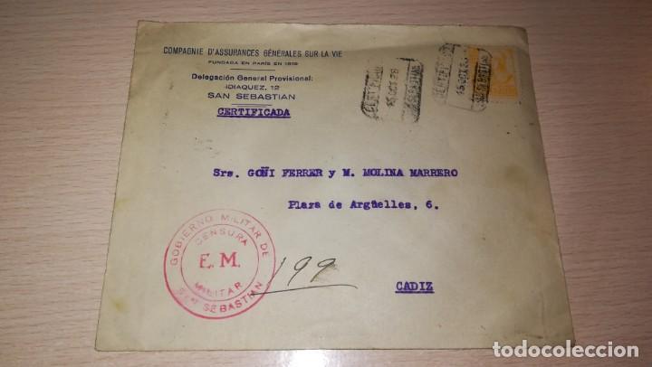 ENTERO POSTAL GOBIERNO MILITAR DE SAN SEBASTIAN-CENSURADA, GUERRA CIVIL ESPAÑOLA.AÑO 1938 (Militar - Propaganda y Documentos)