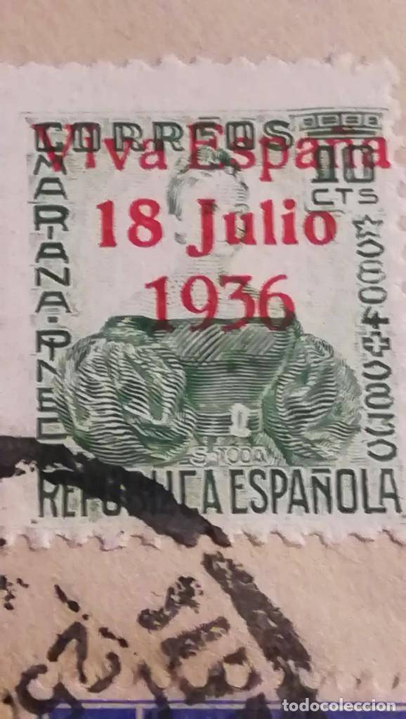 Militaria: ENTERO POSTAL GUERRA CIVIL ESPAÑOLA,SELLOS VIVA ESPAÑA.SANTA CRUZ DE TENERIFE.AÑO 1937 - Foto 3 - 194099172