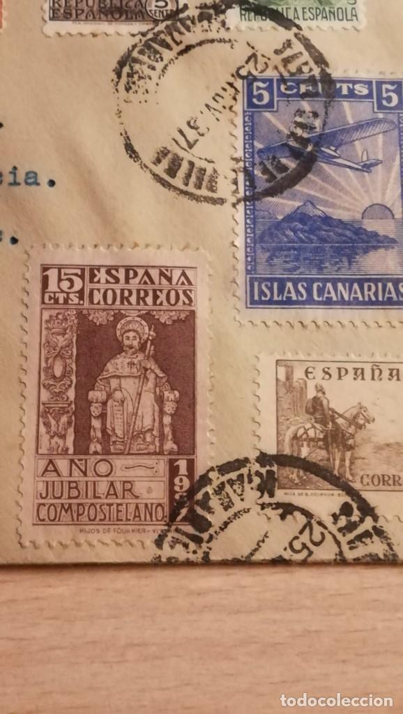 Militaria: ENTERO POSTAL GUERRA CIVIL ESPAÑOLA,SELLOS VIVA ESPAÑA.SANTA CRUZ DE TENERIFE.AÑO 1937 - Foto 6 - 194099172