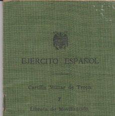 Militaria: EJERCITO ESPAÑOL -- CARTILLA MILITAR DE TROPA Y LIBRETA DE MOVILIZACIÓN. Lote 194237538