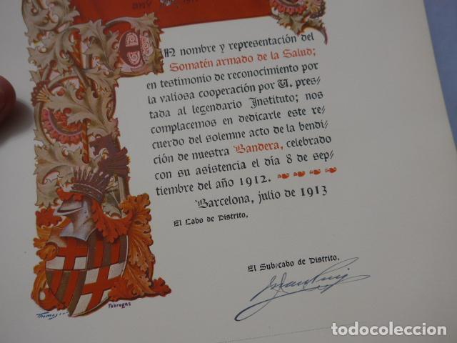Militaria: * Antigua concesion diploma del somaten armado de cataluña, 1913, original. ZX - Foto 3 - 194239098