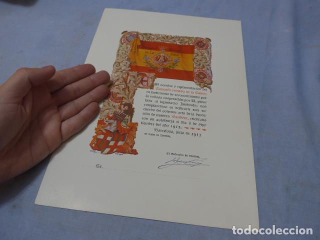 * ANTIGUA CONCESION DIPLOMA DEL SOMATEN ARMADO DE CATALUÑA, 1913, ORIGINAL. ZX (Militar - Propaganda y Documentos)