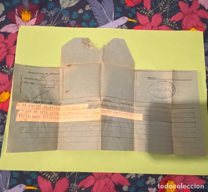 TELEGRAMA 1921 DE MELILLA A CASTELLON GUERRA DE RIF (Militar - Propaganda y Documentos)