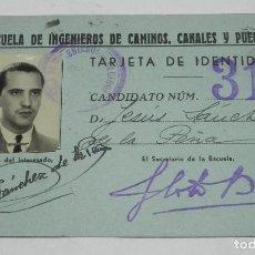 Militaria: CARNET O TARJETA DE IDENTIDAD DE LA ESCUELA DE INGENIEROS CAMINOS, CANALES Y PUERTOS, AÑO 1947. MIDE. Lote 194287847