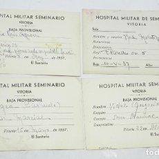Militaria: VITORIA (ÁLAVA) 1937, 4 FICHAS DE HERIDO DEL CUERPO DE AMERICA 23, FLANDES, SAN MARCIAL, HOSPITAL MI. Lote 194289900