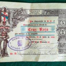 Militaria: CONCESIÓN MEDALLA POR MÉRITOS EN LA CAMPAÑA CRUZ ROJA, DIVISIÓN 83, 1939. Lote 194308157