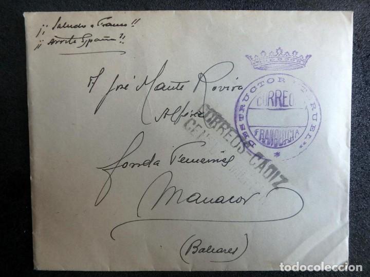 (JX-200286)CARTA ALFÉREZ PROVISIONAL,DIBUJO DEDICADO,FRANQUICIA DESTRUCTOR TERUEL,GUERRA CIVIL. (Militar - Propaganda y Documentos)