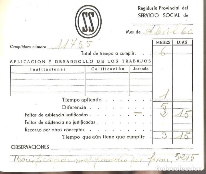 Militaria: Cartilla Servicio Social. Historial de los trabajos. Navarra. Con insignia metálica - Foto 2 - 194332082