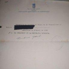 Militaria: PERMISO ENTRADA GENERALITAT CATALUNYA ,FIRMADO PUÑO Y LETRA, VENTURA GASSOL REPÚBLICA 1931. Lote 194359170