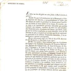 Militaria: MINISTERIO DE GUERRA. DESPACHO DE NOMBRAMIENTO AYUDANTES DE CAMPO DEL REY. MADRID, 1820. Lote 194396250
