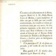 Militaria: CIRCULAR SOLICITANDO LUTOS RIGUROSOS POR 6 MESES A LA MUERTE DE LA REINA MARIA LUISA DE BORBON 1819. Lote 194396497