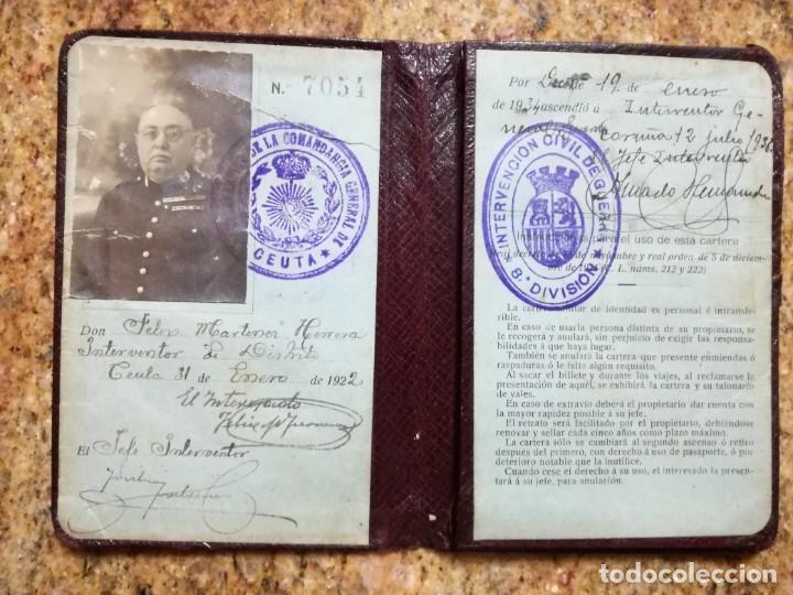 Militaria: Antígua Cartera Militar de Identidad - Interventor General del Ejército - Reinado de Alfonso XIII - Foto 2 - 194512140
