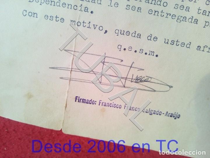 TUBAL GENERAL FRANCISCO FRANCO SALGADO ARAUJO CARTA CON FIRMA AUTOGRAFA 1950 100% ORIGINAL B47 (Militar - Propaganda y Documentos)