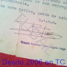 Militaria: TUBAL GENERAL FRANCISCO FRANCO SALGADO ARAUJO CARTA CON FIRMA AUTOGRAFA 1950 100% ORIGINAL B47. Lote 194515050