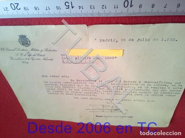 Militaria: TUBAL GENERAL FRANCISCO FRANCO SALGADO ARAUJO CARTA CON FIRMA AUTOGRAFA 1950 100% ORIGINAL B47 - Foto 4 - 194515050
