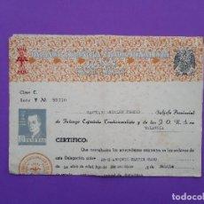 Militaria: FALANGE DELEGACION NACIONAL INFORMACION E INVESTIGACION, SUBJEFE PROVINCIAL CERTIFICO VALENCIA 1953. Lote 194590768