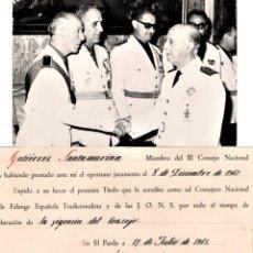 Militaria: GENERAL FRANCISCO FRANCO,FIRMA ORIGINAL AÑO 1942,NOMBRAMIENTO CONSEJERO FALANGE,FOTOGRAFIA CAUDILLO. Lote 194627725