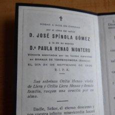 Militaria: RECORDATORIO FUSILADOS GRANJA DE TORREHERMOSA BADAJOZ. 24 DE SEPTIEMBRE 1936. Lote 194628993