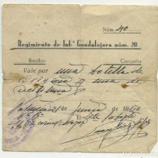Militaria: 1950 VALE DEL REGIMIENTO DE INFANTERÍA GUADALAJARA N.º 20 1 BOTELLA DE OXIGENO Y ACETILENO . Lote 194630265