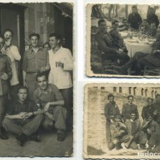 Militaria: 3 FOTOGRAFIAS SOLDADOS EN VALENCIA 3º GRUPO DE SANIDAD 1945. Lote 194632245