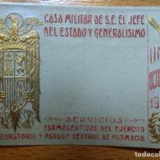 Militaria: SERVICIOS FARMACEUTICOS EJERCITO CASA MILITAR S.E. JEFE DEL ESTADO Y GENERALISIMO FRANCO OCT1937. Lote 194633886