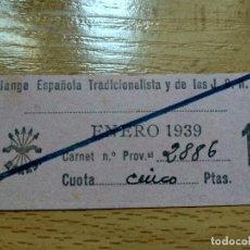 Militaria: SELLO CUOTA ENERO 1939 FALANGE ESPAÑOLA TRADICIONALISTA Y DE LAS J.O.N.S, 5 PESETAS.. Lote 194639832