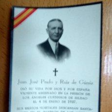 Militaria: IN MEMORIAM ASESINADO EN LA PRISION LOS ANGELES CUSTODIOS DE BILBAO 1937, GUERRA CIVIL.. Lote 194687108