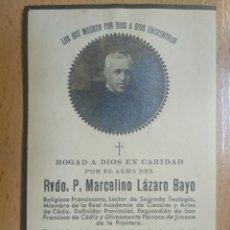 Militaria: IN MEMORIAM RVDO. MURIO DE LAS HORDAS MARXISTAS EN LA ESTACION DE ARRIATE MALAGA 1936, GUERRA CIVIL.. Lote 194689558