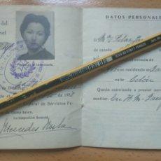 Militaria: CARNET DE AUXILIARES DE SANIDAD MILITAR, INSPECCION GENERAL DE SERVICIOS FEMENINOS ZARAGOZA.. Lote 194690465