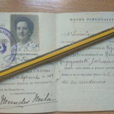Militaria: CARNET DE AUXILIARES DE SANIDAD MILITAR, INSPECCION GENERAL DE SERVICIOS FEMENINOS BILBAO. Lote 194691060