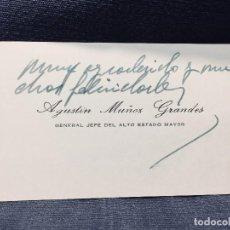 Militaria: ORIGINAL TARJETA VISITA GENERAL JEFE DEL ALTO ESTADO MAYOR AGUSTÍN MUÑOZ GRANDES DIVISIÓN AZUL S XX. Lote 194747866