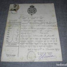 Militaria: CERTIFICADO CONSULADO ESPAÑA EN LYON LION CON FOTO C.1. Lote 194758980